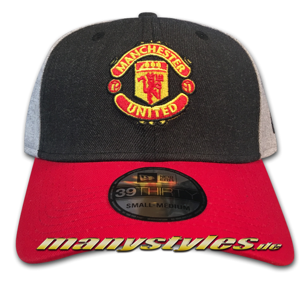 Manchester United 39THIRTY Curved Visor Cap Charcoal Heather Grey Scarlet Red Stretch Flex Fit von New Era