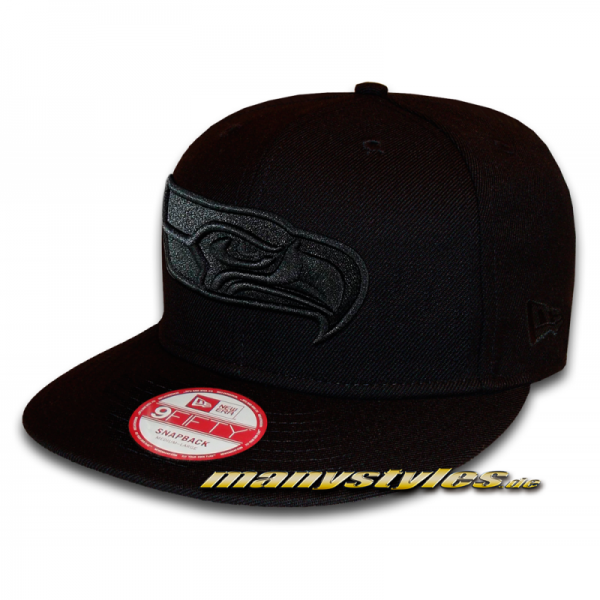 Seattle Seahawks 9FIFTY NFL Black on Black Snapback Cap