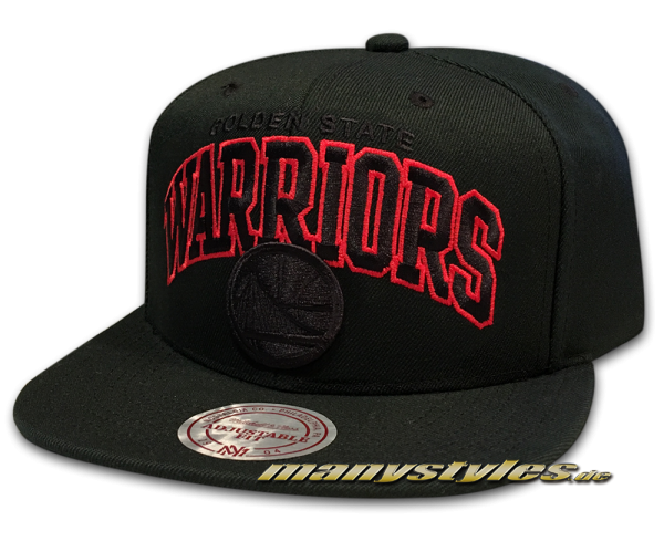 Golden State Warriors NBA Snapback Cap Red Pop Team Arch Black Red von Mitchell and Ness