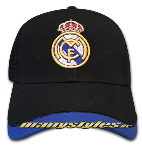 Real Madrid 39THIRTY Curved Visor Cap Black Royal Blue Stretch Flex Fit von New Era