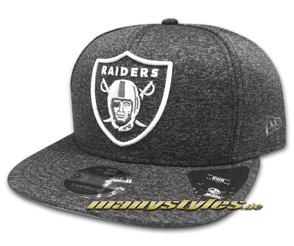 Oakland Raiders NFL Jersey Tech 9FIFTY Snapback Cap Heather Graphite Black von New Era