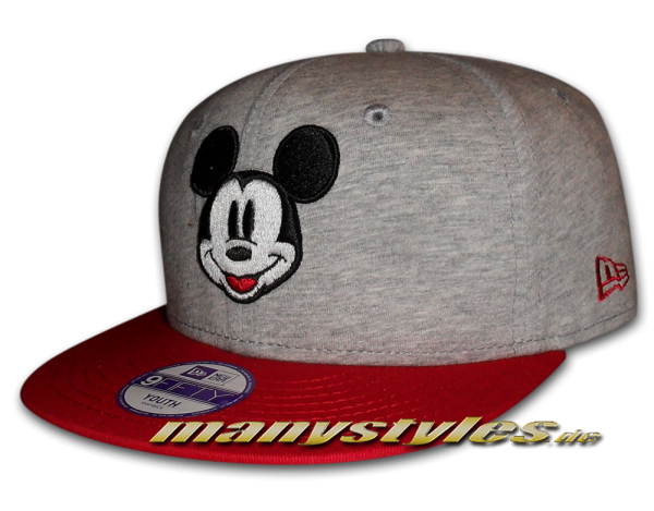 Mickey Mouse Disney Jersey Basic Kids Youth Snapback Cap Heather Scarlet Red von New Era