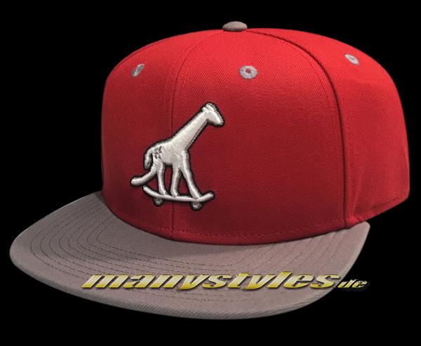 LRG Giraffe on Skateboard Strapback Snapback Cap Giraffe Hat Red
