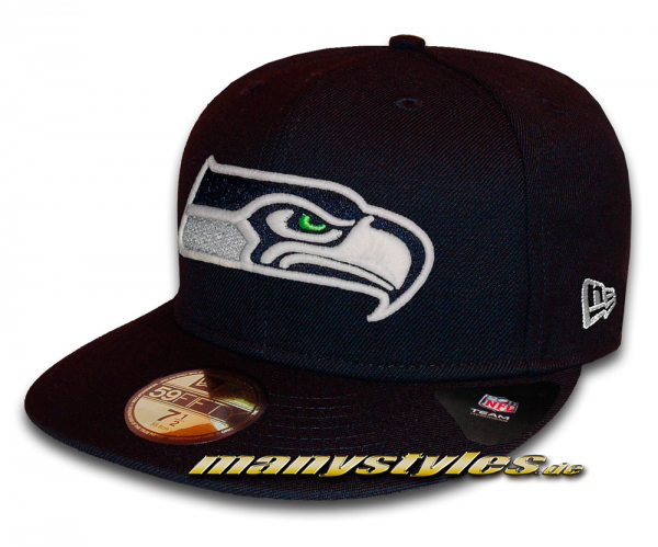 Seattle Seahawks 59FIFTY NFL GITD (Glow in the Dark) Navy White Cap von New Era