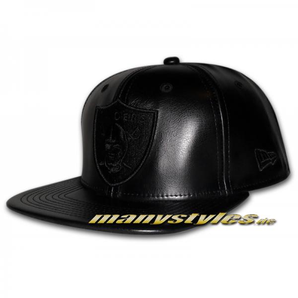 Oakland Raiders NFL PU Tonal Snapback Cap Black on Black