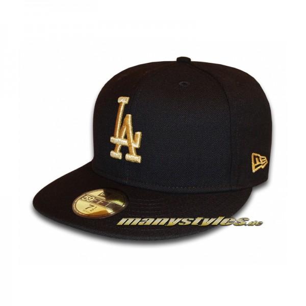 LA Dodgers 59FIFTY MLB Basic Metallic Cap exclusive Black Gold