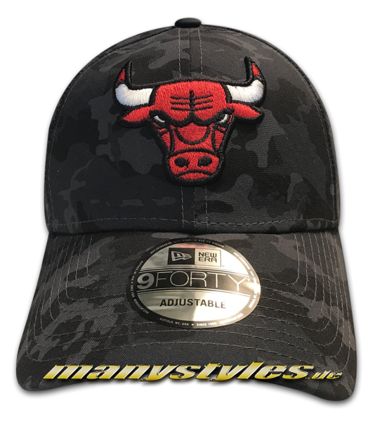 Chicago Bulls 9FORTY NBA The League Curved Visor Cap Charcoal Black Dark Camouflage von New Era