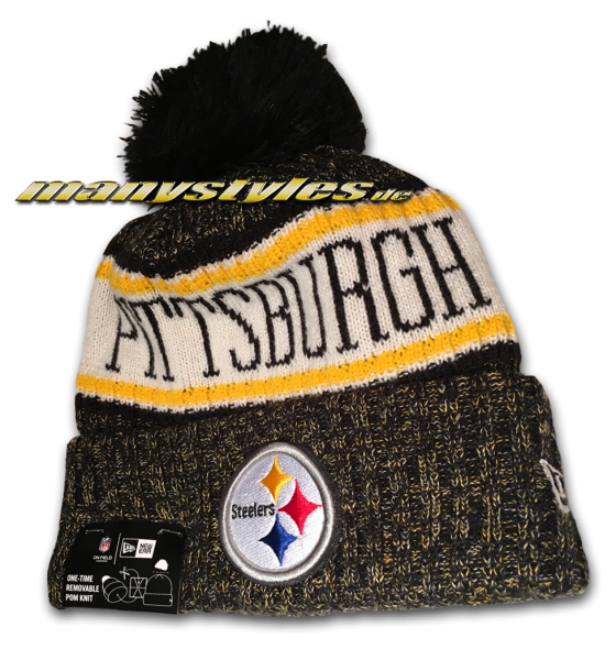 Pittsburgh Steelers NFL Sideline 2018 Knit Bobble Beenie von New Era