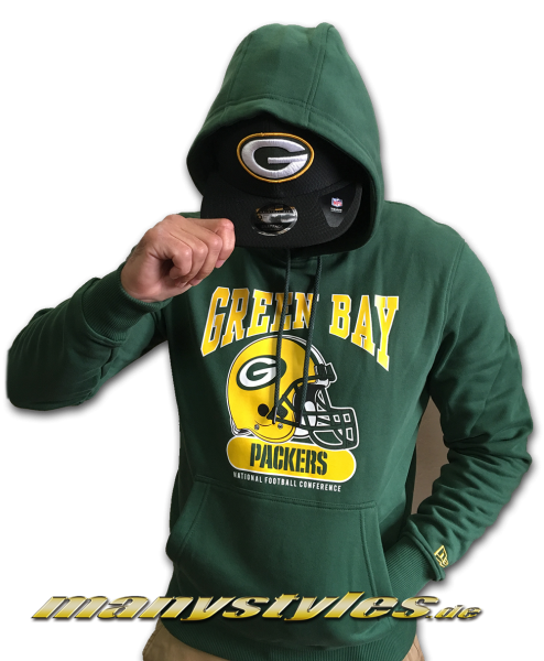 Greenbay Packers NFL Team Archie Hoodie Hooded Sweater Green Yellow Team Color von New Era