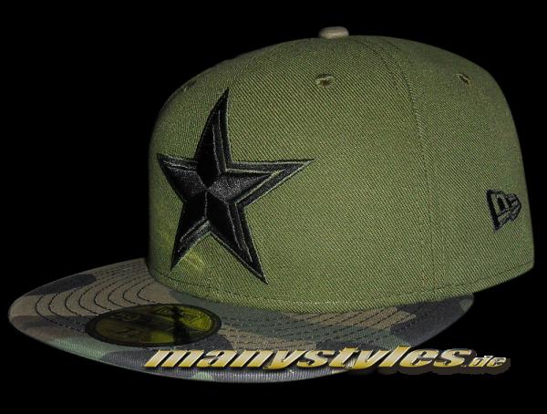 Dallas Cowboys NFL 59FIFTY Exclusive Cap Rifle Green Woodland Camouflage Black von New Era