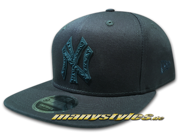NY Yankees 9FIFTY MLB Rubberized Camo Logo OriginalFit Snapback Cap Navy Tonal