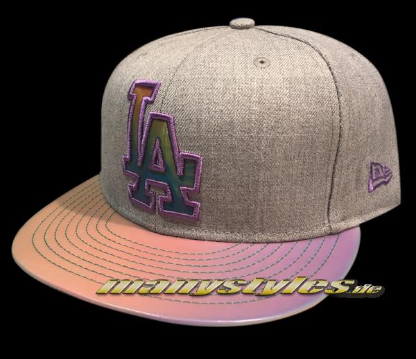 La Dodgers mlb 9fifty new era snapback cap multi slick visor heather grey chambray chambrak purple multicolor alternate view mc fly back to the future frontside