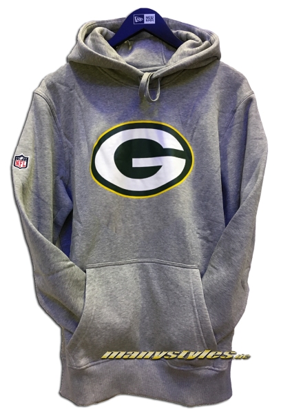 Greenbay Packers NFL Team Logo PO Hood Hooded Heather Grey Team Color von New Era