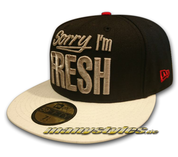 Sorry I am Fresh 59FIFTY Cap Black White Grey Scarlet Red von New Era