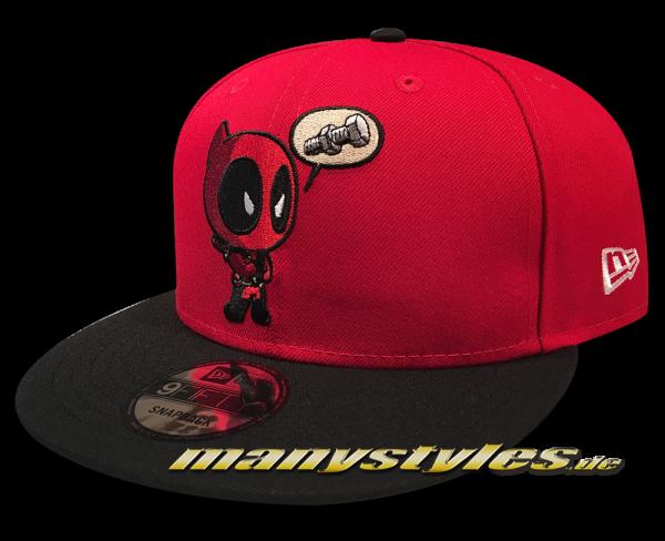 Marvel Comic Deadpool 9FIFTY exclusive Snapback Cap Deadpooly Red Black Front von New Era