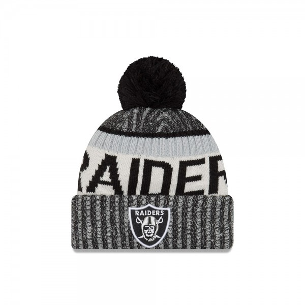 Oakland Raiders  NFL Sideline 2017 Bobble Beenie Grey Black Silver OTC von New Era Frontside