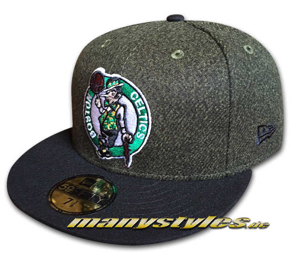 Boston Celtics NBA 9FIFTY Fitted Cap Melton Crsp Heather Charcoal Dark Green Black von New Era
