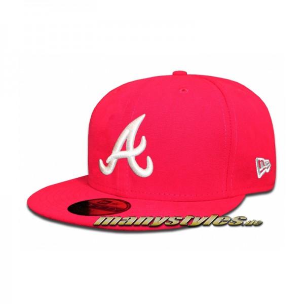 Atlanta Braves 59FIFTY MLB Basic Cap Bright Rose (Pink) White