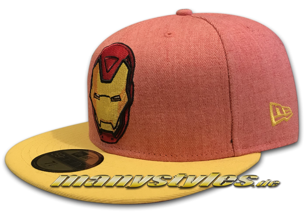 Marvel Comics Ironman The Golden Avenger 59FIFTY Heather Official Team Cap Heather Red Yellow OTC von New Era