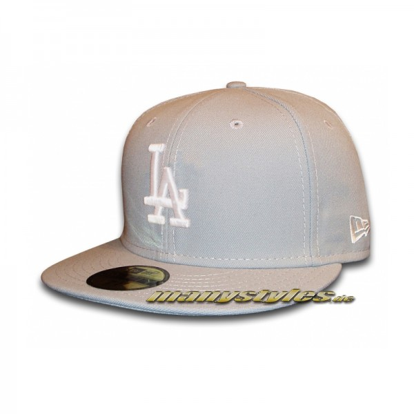 LA Dodgers 59FIFTY MLB Basic Cap Grey White