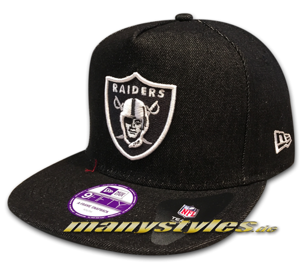 Oakland Raiders JR NFL 9FIFTY Denim AFrame Snapback Cap OTC Team Color Black White von New Era