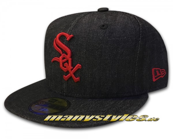 Chicago White Sox MLB 59fifty New Era fittet Cap denim fit Black Jeans denim Scarlet Red
