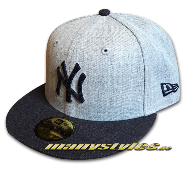 NY Yankees MLB 59FIFTY Fitted Heather Crsp2 Grey Navy Cap von New Era