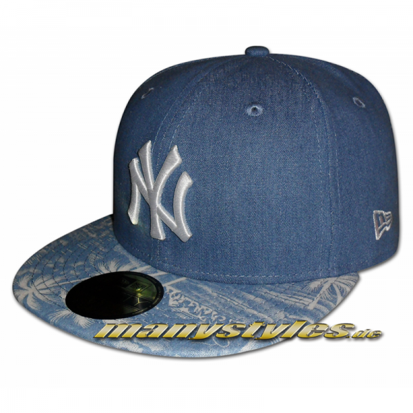 NY YANKEES MLB Denim Palm Fitted Cap Navy Blue von new era