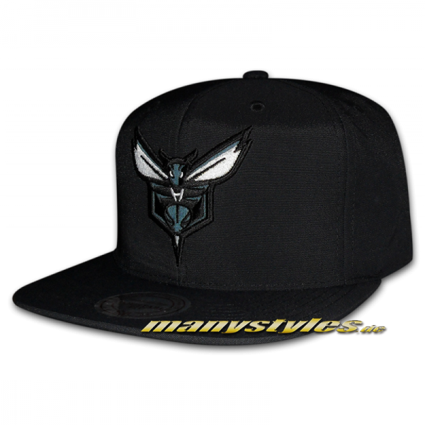 Hornets NBA Black and White Satin Series Snapback Cap