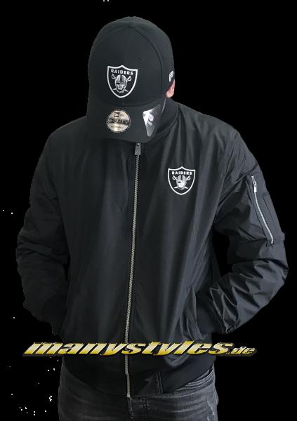 Oakland Raiders oder Las Vegas Raiders MLB Team Apparel Concrete Bomber Jacket Black White OTC von New Era