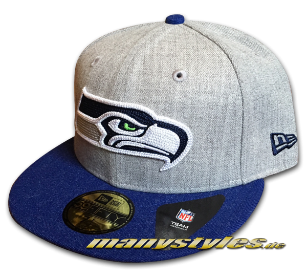 Seattle Seahawks 59FIFTY NFL Fitted Cap Heather Crsp Fit OTC White Navy Lime Green OTC von New Era