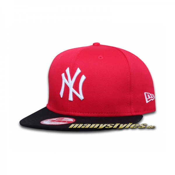 NY Yankees 9FIFTY Cotton Block Scarlet Red Black White Snapback White