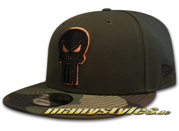 Marvel Comics The Punisher 9FIFTY Dark Rifle Green Camo exclusive Snapback Cap Woodland Camouflage Black Copper Metallic von New Era