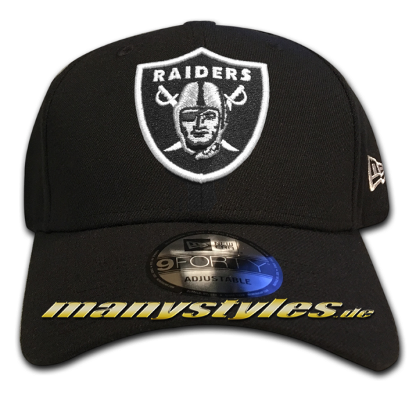 Oakland Raiders NFL 9Forty Cuved Visor Cap Black White Original Team Color Color Team Curved Visor 9Forty Adjustable Cap von New era