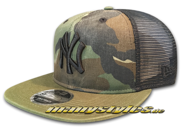 New Era NY Yankees MLB 9FIFTY OF Snapback Cap Washed Camo Snap Rifle Green Woodland Camouflage Black