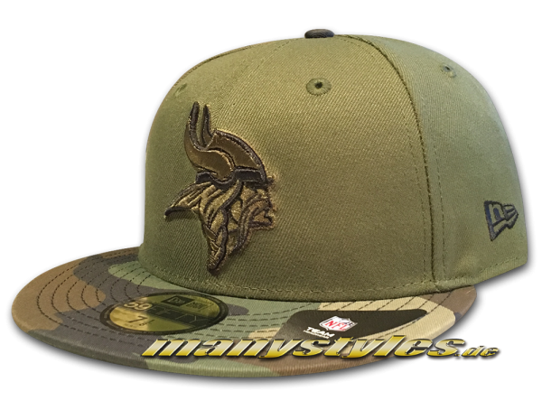 Minnesota Vikings NFL 59FIFTY Exclusive Cap Rifle Green Woodland Camouflage Black von New Era