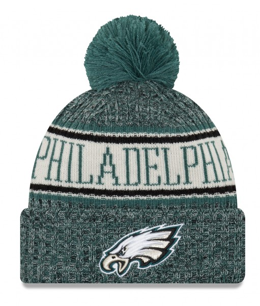 Philadelphia Eagles NFL Sideline 2018 Knit Bobble Beenie von New Era