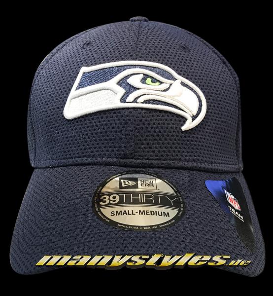 Seattle Seahawks NFL 39THIRTY Cuved Visor Cap Sideline Tech Navy White OTC von New Era