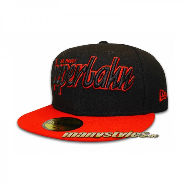 St. PAULI REEPERBAHN 59FIFTY Melton Basic Cap exclusive special Black Scarlet Red